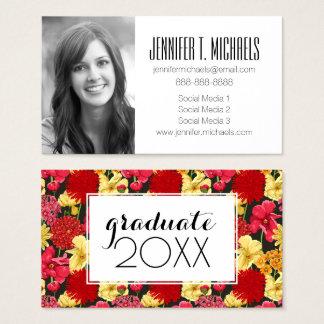 Photo Graduation   Floral Watercolor Business Card
