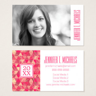 Photo Graduation | Flower geometrical pattern Business Card