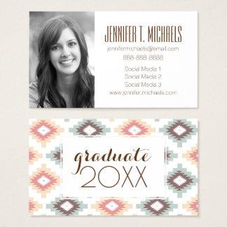 Photo Graduation | Geometric Aztec Pattern Business Card