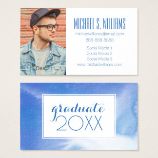 Photo Graduation   Hand Painted Business Card