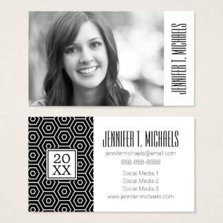 Photo Graduation | Hexagon Pattern Business Card