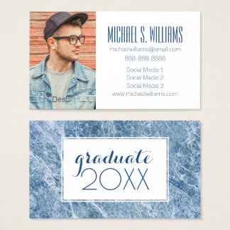 Photo Graduation | Ice Blue Marble Texture Business Card