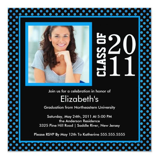 Photo Graduation Invitation Blue Black Polka Dots