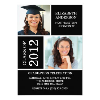 Photo Graduation Invitation Classy Black White