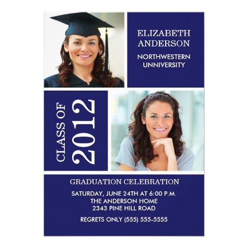 Photo Graduation Invitation ~Classy Blue & White