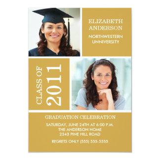 Photo Graduation Invitation ~Classy Gold & White