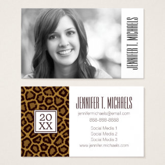 Photo Graduation | Leopard Fur Business Card