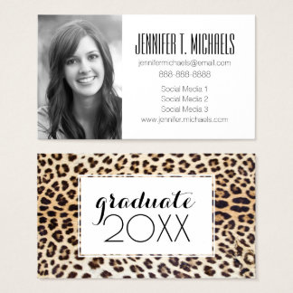 Photo Graduation | Leopard Hair Business Card