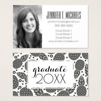 Photo Graduation | Monochrome Pineapples Business Card