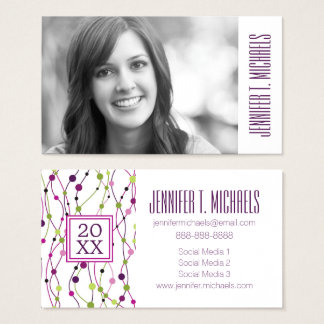 Photo Graduation | Multicolored Dots Business Card