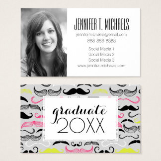Photo Graduation   Mustache Pattern Business Card