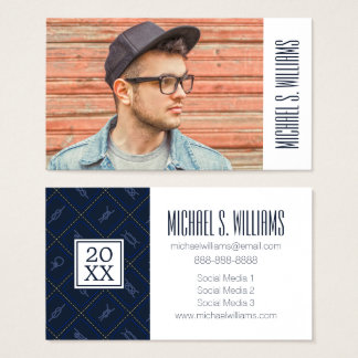 Photo Graduation | Nautical Rope Knot Pattern Business Card