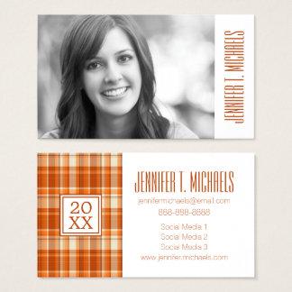 Photo Graduation   Orange Plaid Business Card