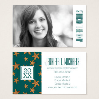 Photo Graduation | Orange Starfish Pattern Business Card