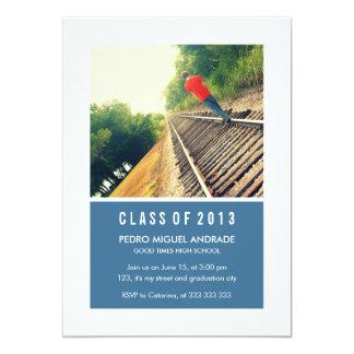 "Photo Graduation Party Navy Blue White Class 2013 5"" X 7"" Invitation Card"