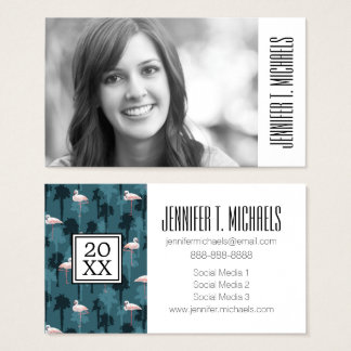 Photo Graduation | Pastel Flamingos On Teal Business Card