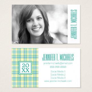 Photo Graduation   Pastel Plaid Business Card