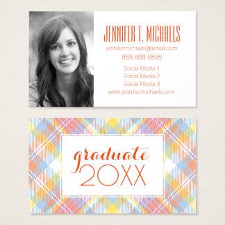 Photo Graduation   Pastel Stripe Plaid Business Card