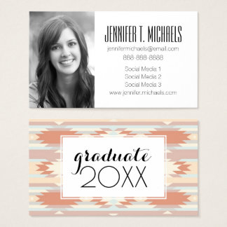 Photo Graduation | Pattern In Aztec Style Business Card
