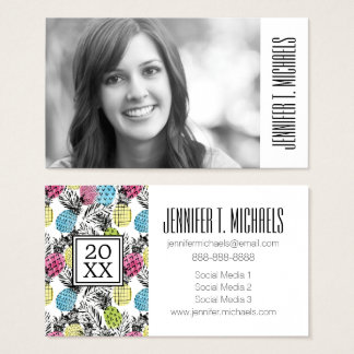 Photo Graduation | Pineapple Grunge Palms Business Card