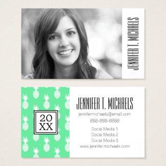 Photo Graduation   Pineapple Mint Pattern Business Card