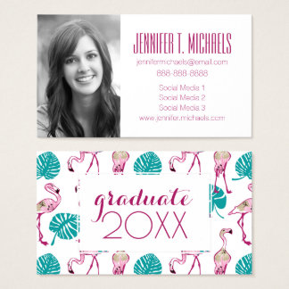 Photo Graduation | Pink Flamingos Business Card