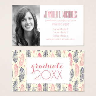 Photo Graduation | Pink & Purple Ethnic Feathers Business Card