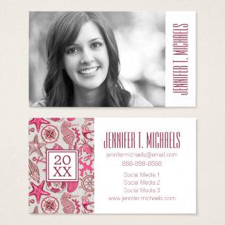Photo Graduation | Pink Sea Pattern Business Card