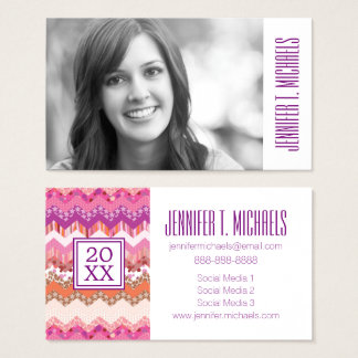 Photo Graduation   Pink Zigzag Business Card