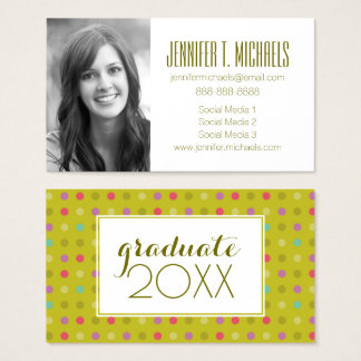 Photo Graduation | Polka-Dot Pattern Business Card