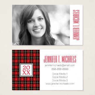 Photo Graduation   Red Plaid Background Business Card