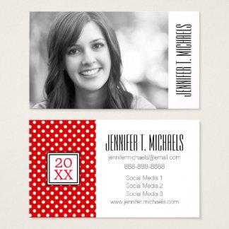 Photo Graduation   Red Polka Dots Business Card