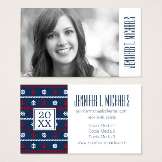 Photo Graduation | Red White And Blue Ocean Business Card