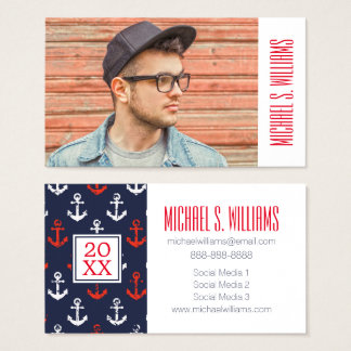 Photo Graduation | Red White & Blue Navy Pattern Business Card