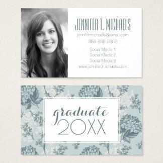 Photo Graduation   Retro Flowers Business Card