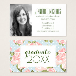 Photo Graduation | Rose Pattern With Polka Dots Business Card