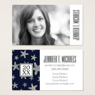 Photo Graduation | Sea Of Starfish Pattern Business Card