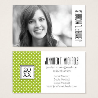 Photo Graduation | Spring Polka Dots Business Card