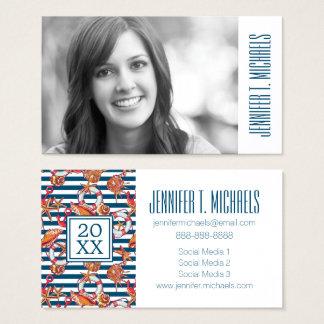 Photo Graduation | Starfish And Stripes Pattern Business Card