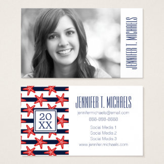 Photo Graduation | Stars And Stripes Pattern Business Card