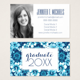 Photo Graduation | Surf Floral Hibiscus Pattern Business Card