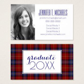 Photo Graduation | Tartan Pattern Business Card