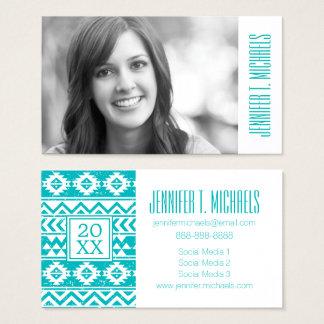 Photo Graduation | Teal Grunge Aztec Business Card