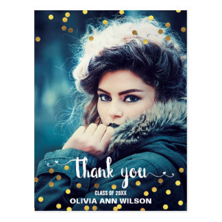 Photo Graduation Thank You Faux Gold Foil Confetti Postcard