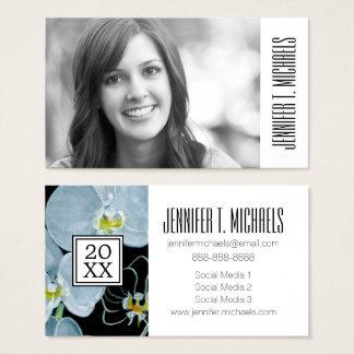 Photo Graduation | Watercolor White Orchids Business Card
