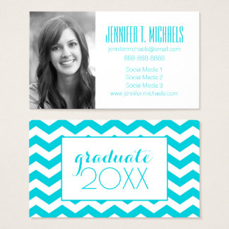 Photo Graduation | White & Aqua Zig Zag Business Card