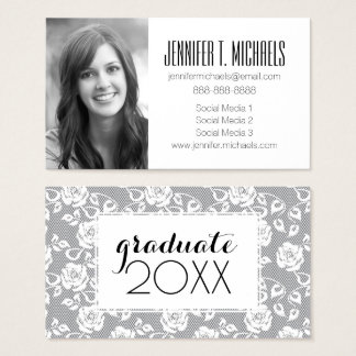 Photo Graduation | White Lace On Gray Business Card