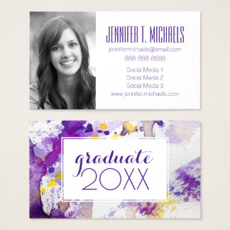 Photo Graduation | Yellow & Purple Watercolor Business Card
