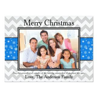 Photo Gray Chevron Blue Snow - 6x8 Christmas Card 17 Cm X 22 Cm Invitation Card
