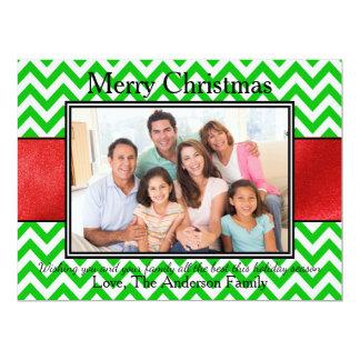 Photo Green Chevron Red Ribbon - 6x8Christmas Card